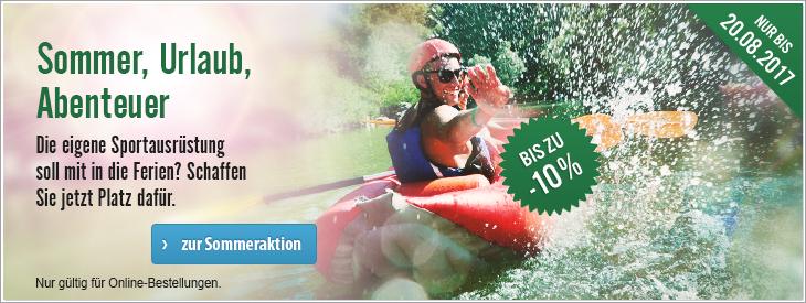 Sommer, Urlaub, Abenteuer ☀ Sommeraktion  Die eigene Sportausrüstung soll mit in die Ferien? Schaffen Sie jetzt Platz dafür.