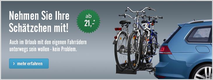 Fahrradträger für die Anhängerkupplung, das Dach oder die Heckklappe. Für jeden die richtige Transportlösung.